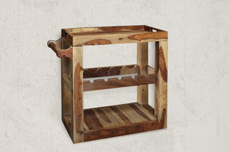 Trolley Bar WAVERLY Winepoint Sheesham Wood Trolley Bar dimensions in cm (H/W/D) 70x65x35cm