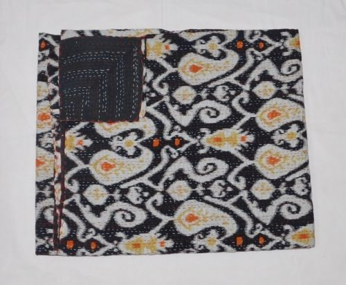 Indian Cotton Quilt Ikat Print Twin Cotton Kantha Quilt Bedspread Throw Blanket  #Handmade #Traditional