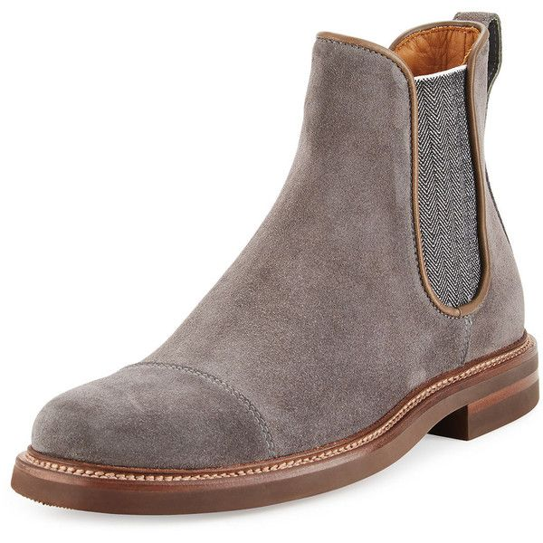 Aquatalia By Marvin K Philip Weather-Resistant Suede Chukka Boot (350450 IQD) ❤ liked on Polyvore featuring men's fashion, men's shoes, men's boots, grey, mens chukka boots, mens gray suede shoes, mens slip on boots, mens cap toe boots and mens platform boots