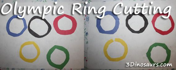 Ring Cutting Activity Using Olympic Colors from 3 Dinosaurs