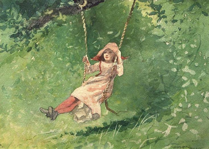 Winslow Homer: Girl on a Swing, watercolor, 1879. #watercolor