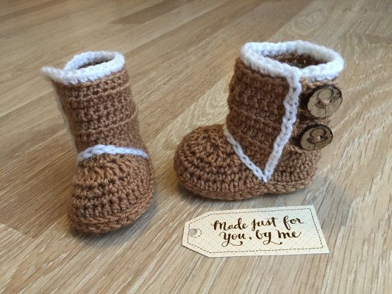 Crochet Baby Boy Winter Boot.  These stylish winter boots will keep babys toes warm in chilly weather! They make a unique and often treasured baby