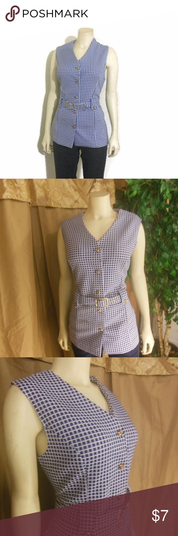 Vintage Checker Plaid Tunic Vest Top Button down v-neck tunic vest.  Polyester.  So-oo pretty but has some flaws, a rusty discoloration(pictured).  Item is belted.  40 bust   37 waist  28 length  Moderate wear. Authentic Original Vintage Style Tops