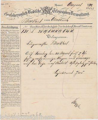 OLD GERMAN TELEGRAM DOCUMENT 1870 GERMANY COMMUNICATIONS CORRESPONDENCE LETTER