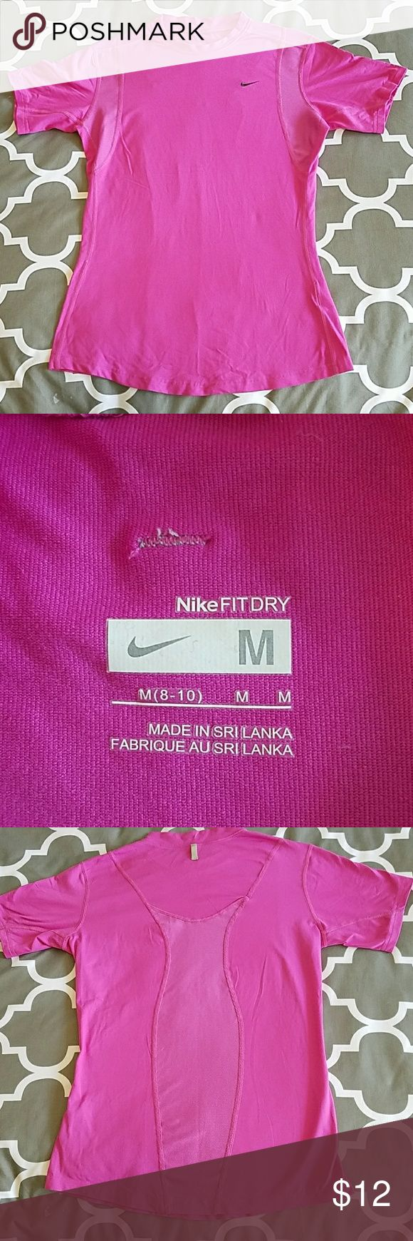 Nike Fit Fri shirt size med pink EUC Nike shirt in EUC ONLY worn once washed in cold line dried. Nice mesh at underarms and back to breathe. Nike Tops Tees - Short Sleeve