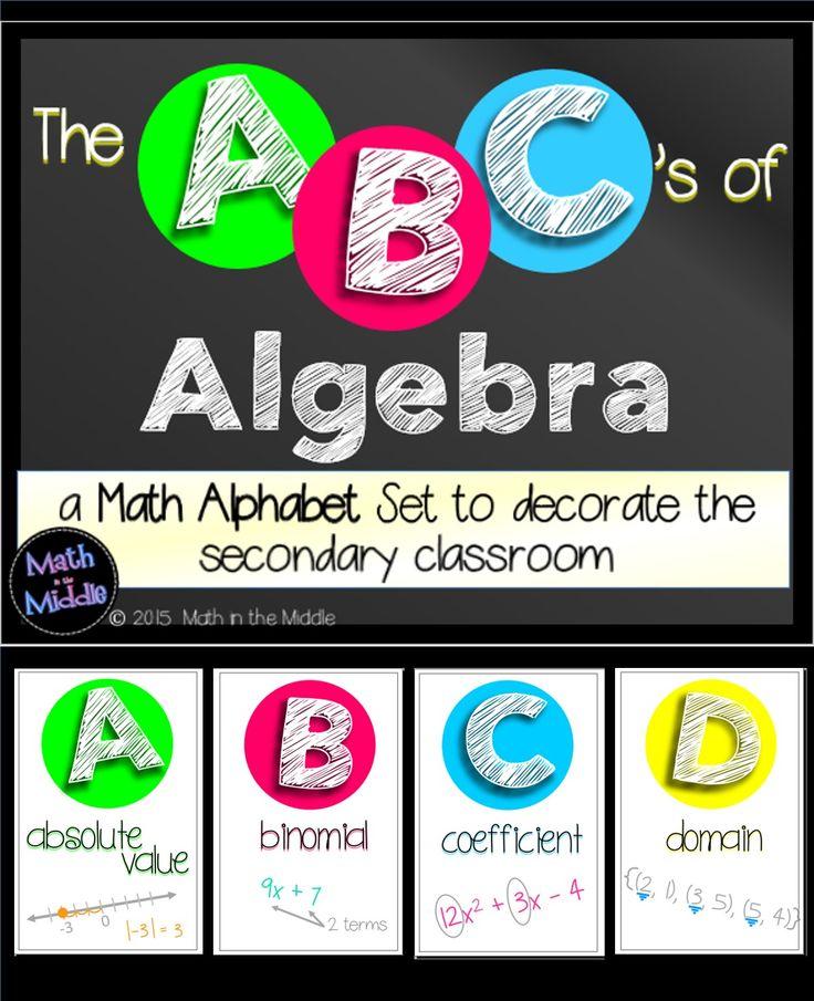 Classroom Decor Elementary ~ Math posters abcs of algebra classroom decor