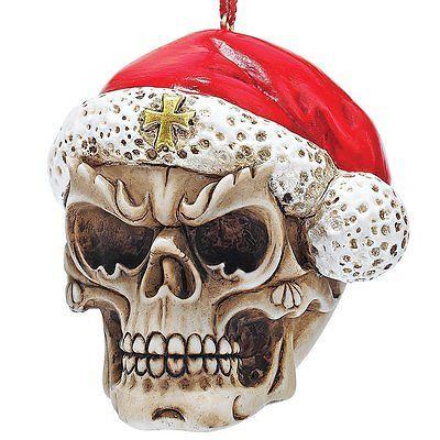 Skull Skeleton Santa Christmas Tree Ornament Holiday Xmas Medieval Gothic Decor