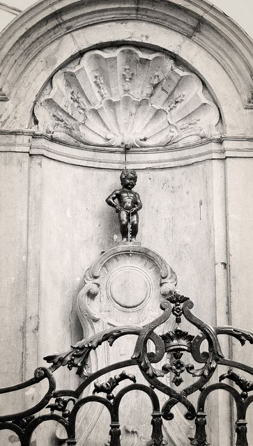 Manneken Pis, Brussels Belgium. One of the most popular sights in Brussels.