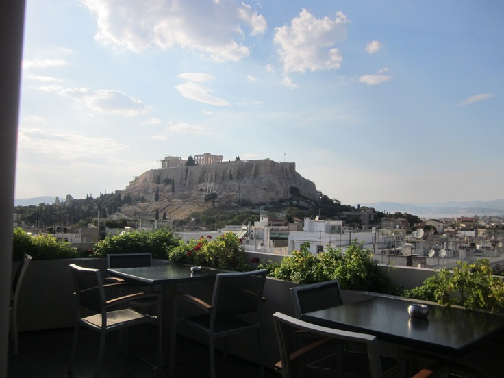 View of the Acropolis from the roof of the  Athens Gate Hotel.