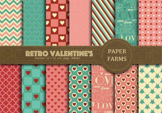 Retrò digitale carta di San Valentino, San Valentino carta digitale, carta di San Valentino scrapbooking, retrò, vintage, amore cuore, download immediato