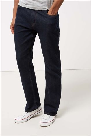 Dark Ink Straight Fit Jeans With Stretch