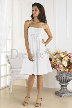 2012 Style Empire Bridesmaid Dress with Spaghetti Straps and Pretty Floral Detail, White Bridesmaid Dresses - dressale.com