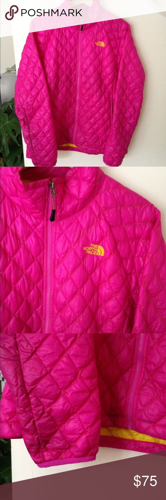 North Face Thermoball Jacket Full Zip This jacket is so warm and comfortable. Very versatile and in good condition! Pink outside and yellow lining. Full price is $199 so this is a great deal for a great jacket. Only minor signs of wear and tear as shown on the sleeve picture but no rips. The North Face Jackets & Coats Puffers