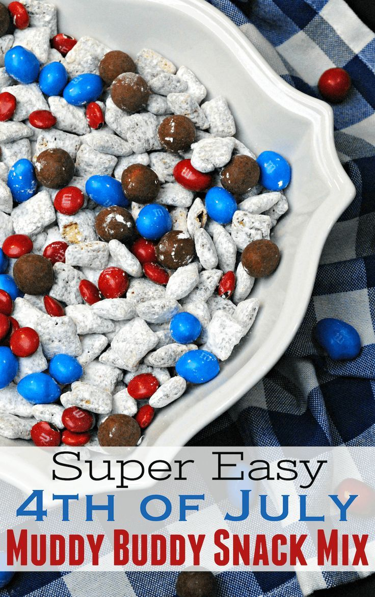 4th of July Snack Mix Recipe: easy red, white and blue party food for picnic!