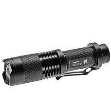 Cree Q5 ledes - nagyon erős fényerejű - mini fém házú elemlámpa - éjszakai túrázáshoz, kerékpárra
