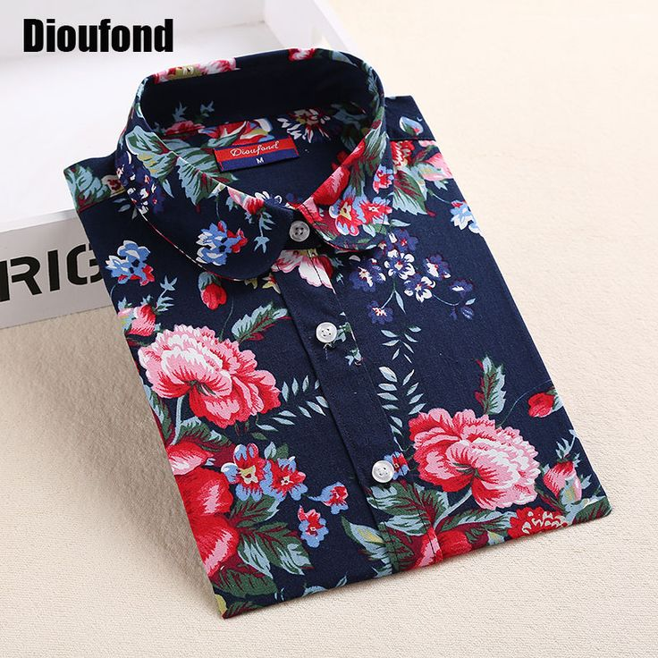 Blouses Shirts  Dioufond Floral Shirts Women Blouses Blouse Cotton Blusa Feminina Long Sleeve Shirt Women Tops And Blouses 2016 New Fashion 5XL ** Clicking on the image will lead you to find similar trending pieces on AliExpress website