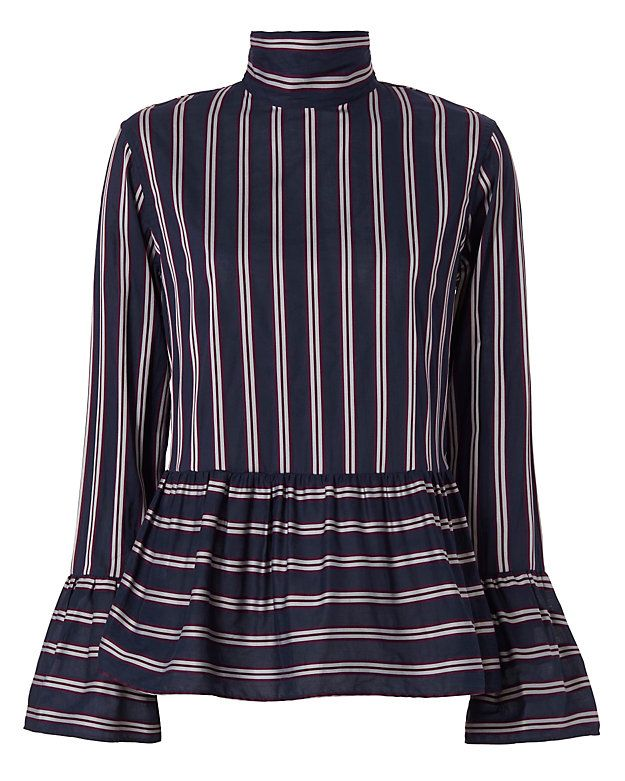Le Sarte Pettegole Ruffled Woven Stripe Blouse: An essential striped blouse with…