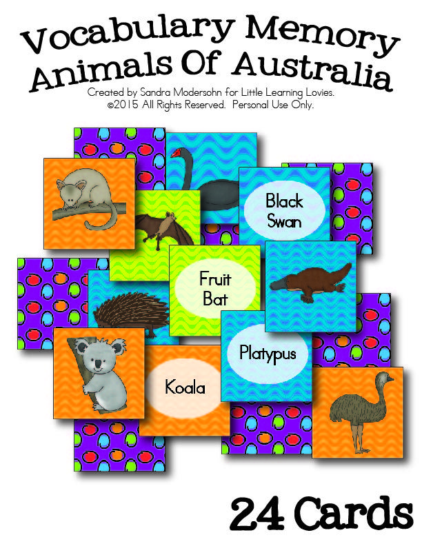 Animals Of Australia Vocabulary Memory Game — FREE!