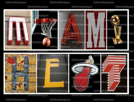 NBA Miami Heat Framed Alphabet Photo Art by DAMartndesign on Etsy, $39.00