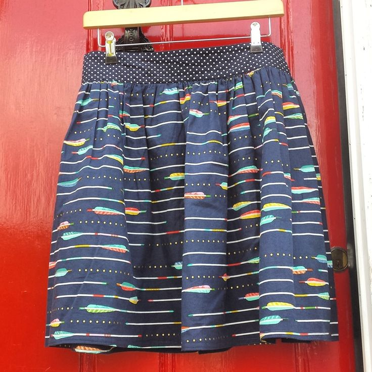 Clemence skirt from tilly and the buttons made in metallic arrows from the Mustang range