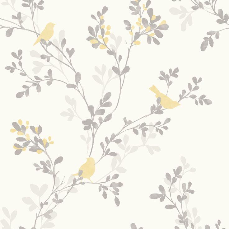 Nadia Soft Lemon Trees with Birds Mica Wallpaper | Departments | DIY at B&Q