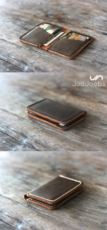 Feel the full grain leather of this handmade wallet in the palm of your hand.  This minimalist wallet fits a huge amount of cards and cash, while remaining compact with the ability to fit in your front pocket or jacket pocket.  Personalize it for the perfect gift!