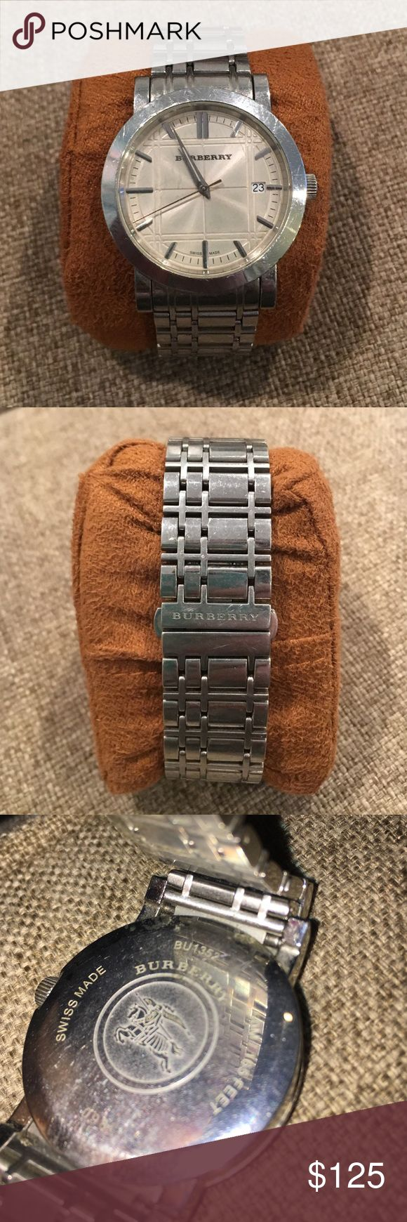 Burberry Men's Watch Heritage BU1352 Burberry men's watch heritage BU1352. Has been worn, few scratches other than that it is in great condition. NO BOX. NEEDS NEW BATTERY. if you would like me to replace the battery prior to shipping I will list for $5 extra. No trades. Will accept reasonable offer. Burberry Accessories Watches