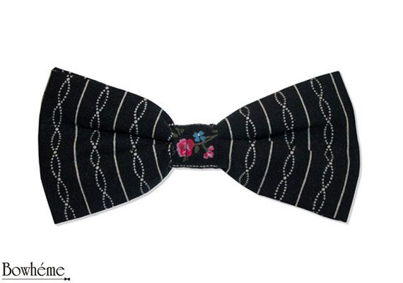 Striped bow tie with flowerDELICATE.Father's day gift. by Bowheme, $11.00