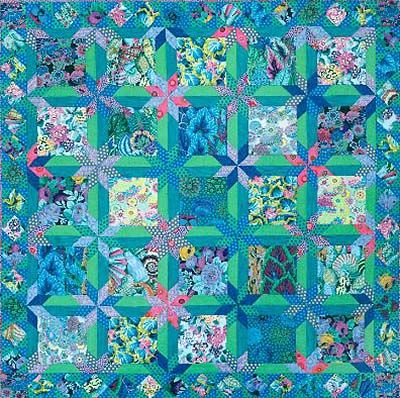 """Green Star Bouquet Quilt Fabric Pack from Glorious Color - quilt fabric and kits from """"Museum Quilts"""", """"Passionate Patchwork"""", and """"Kaleidoscope of Quilts"""" by Kaffe Fassett & Liza Lucy"""