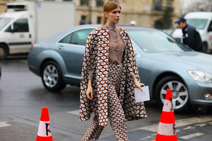 -Marykatrantzou, Elenaperminova, Vogue Paris, Mary Katrantzou, Elena Perminova, Paris Fashion Weeks, Fall Street Styles, Matchy Matchy, Prints