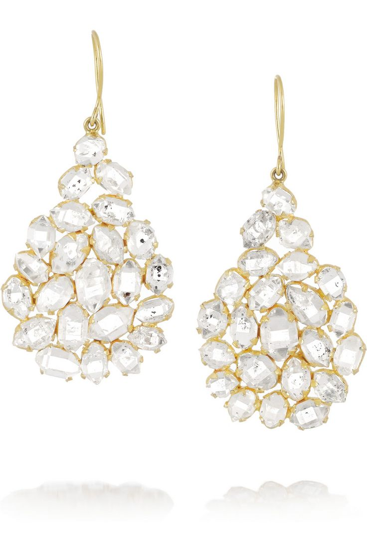 Pippa Small|18-karat gold Herkimer diamond earrings