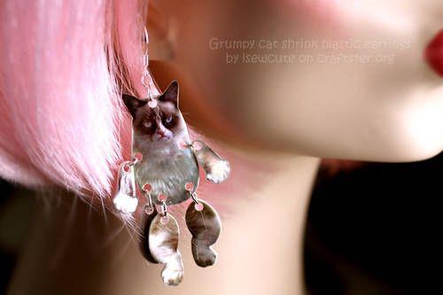 Grumpy Cat Shrink Plastic Chandelier Earrings - JEWELRY AND TRINKETS