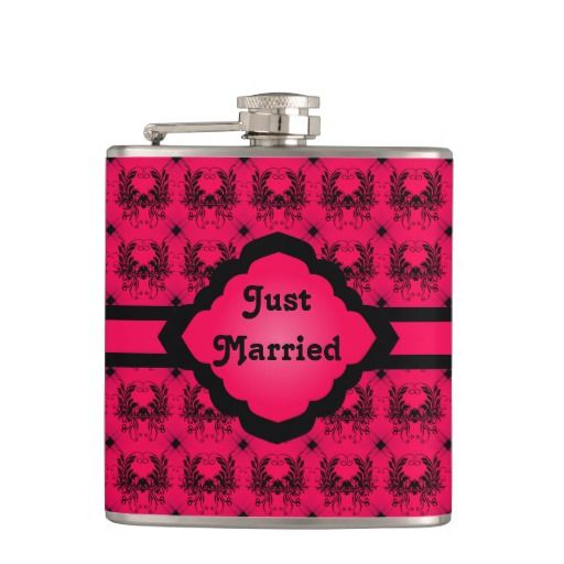 """Just Married Pink Damask Flask - This design is black and pink, the damask is black with a hot pink background with a ribbon and monogram frame in the middle with """"Just Married"""" in the middle. http://www.zazzle.com.au/just_married_pink_damask_flask-256182365010819752?rf=238523064604734277"""