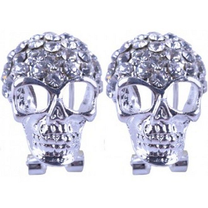 Silver Plated Rhinestone Skull Stud Earring Available From Skullaccessories Co Uk