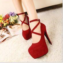 2014 novos sapatos de salto alto mulher bombas sapatos de casamento mulheres plataforma sapatos da moda fundo vermelho de salto alto 11 cm camurça grátis frete(China (Mainland))
