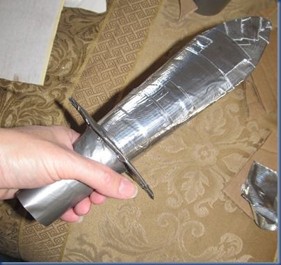 Duct tape and cardboard sword  - this will be good for our Pirate adventures.