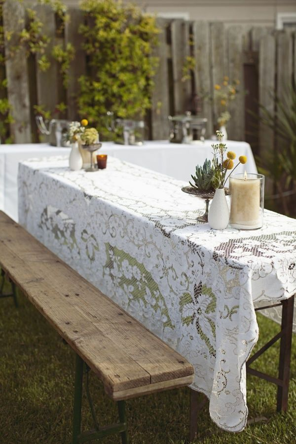 Lace table cloth—lovely idea for for a picnic wedding! {Photo by Joielala Photography}