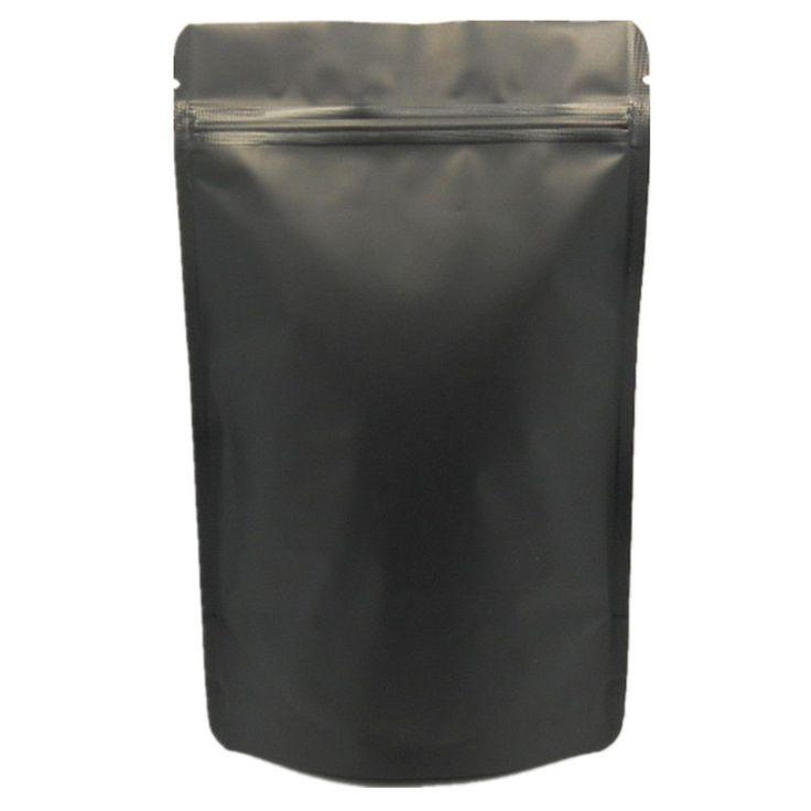 Matte Black Pure Aluminum Foil Stand Up Bag Pouches Zip Lock Food Grade Package