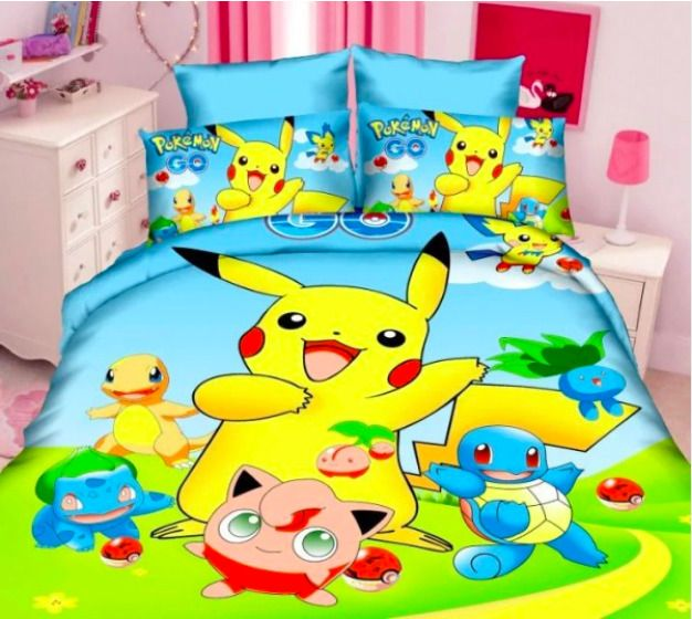Pokemon Pikachu Bedding Set Cartoon Cotton Bed Linen For Children
