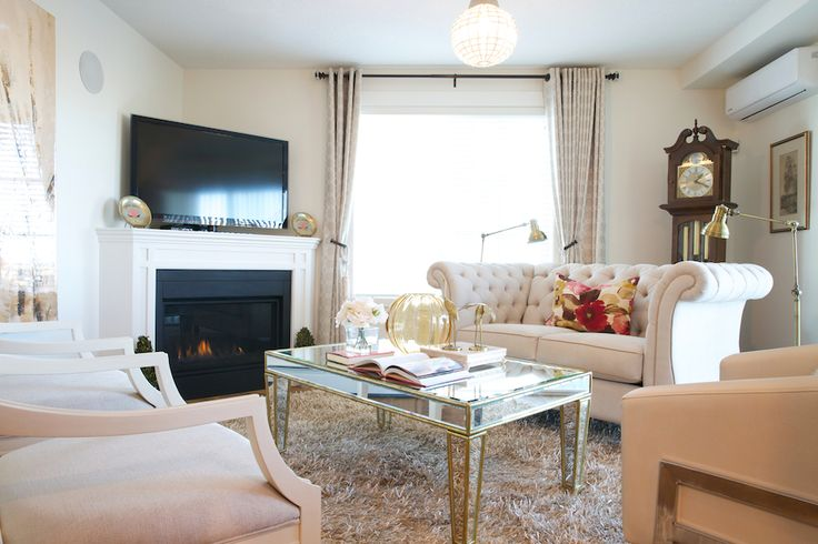 """Downton Abbey and the Bolshoi Ballet were the inspiration behind this antique filled girly girl blush-toned space. This spacious, light and bright home truly reflects how someone can live a traditionally luxurious lifestyle in a brand new condo. (Built by Brad Remington Homes; Interior Design by ANA Interiors; Photography by Photophilcro). Find this at Copperfield Park III in the """"A Showsuite""""."""