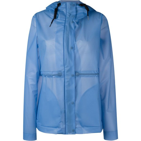 Hunter hooded raincoat (670 PLN) ❤ liked on Polyvore featuring outerwear, coats, blue, hooded raincoat, hooded rain coat, mac coat, blue raincoat and rain coat