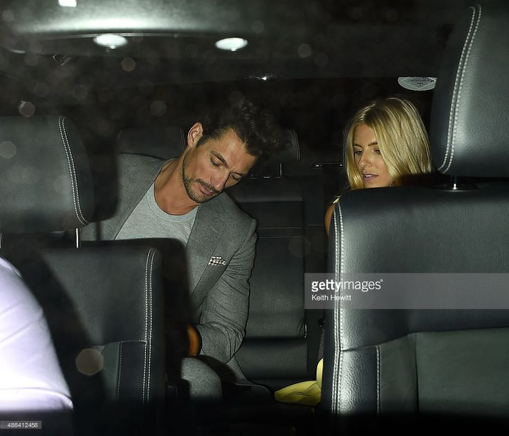 David Gandy and girlfriend Mollie King leave Groucho Club in Soho on September 3, 2015 in London, England.