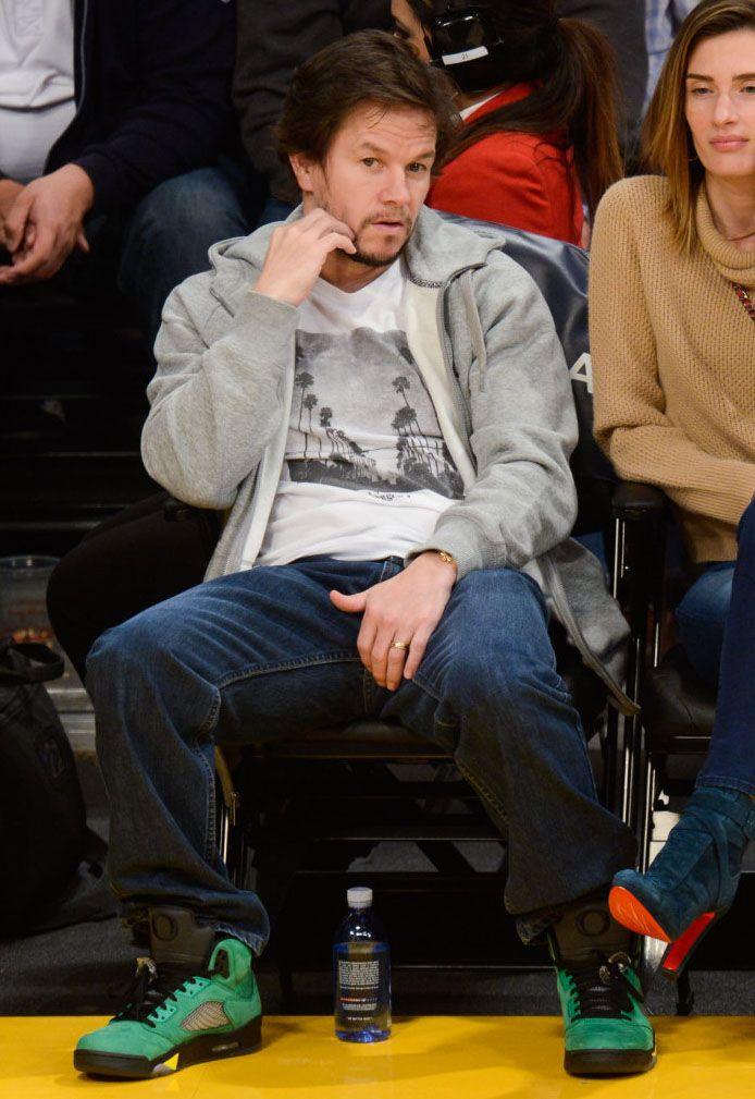 597ecd66f4a6 Mark Wahlberg Wears  Oregon  Air Jordan 5 at a Lakers  game  GoDucks ...