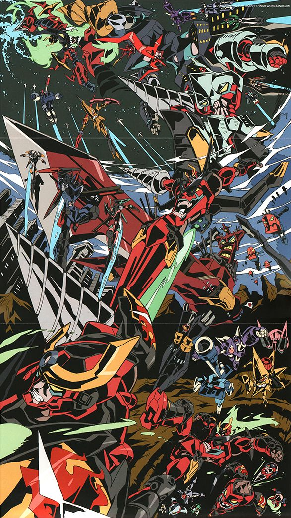 "busterbeam: "" artbooksnat: "" Awesome illustration by Hiroyuki Imaishi (今石 洋之) from the Tengen Toppa Gurren Lagann Drill Final Drill book. So many evolutions! "" holy shit this is so good "" Imaishi is my hero."
