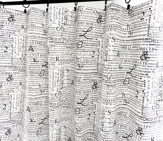 Curtains Ideas black and white panel curtains : Black & White Panel Curtain. News letter print Curtain. 2 panel ...