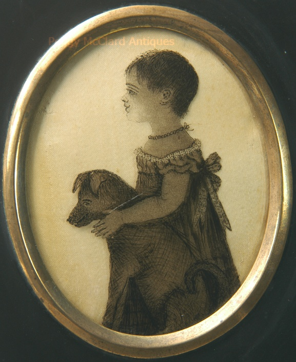 Antique Reverse Painted Silhouette Signed C.H. Hudson, of Child & Dog