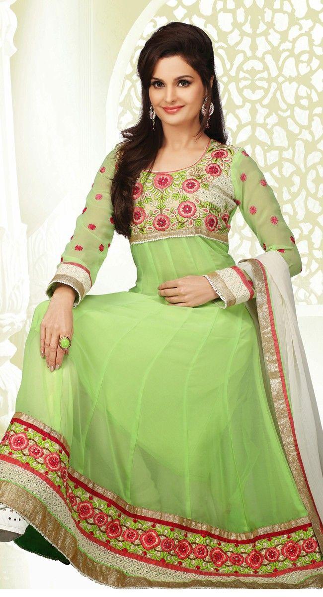 Green color Pakistani Suits-Georgette #Salwar #Kameez