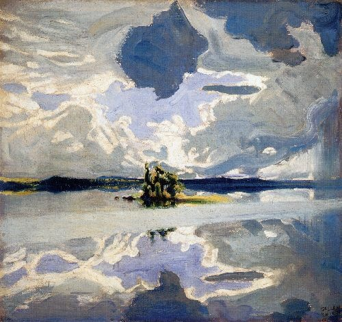Clouds Above a Lake Painting by Akseli Gallen Kallela | Oil Painting