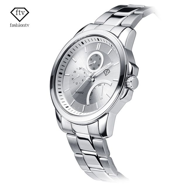 Check it on our site FTV Silver Watch Men Stainless Steel Band Relogio Masculino 30 Meters Water Resistant Reloj Hombre de Marca Sport Quartz Watch just only $11.64 with free shipping worldwide  #menwatches Plese click on picture to see our special price for you