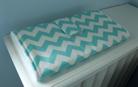 Portable Changing Pad - Riley Blake Chevron in Aqua with White Minky